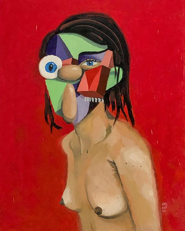 Frau auf Rot