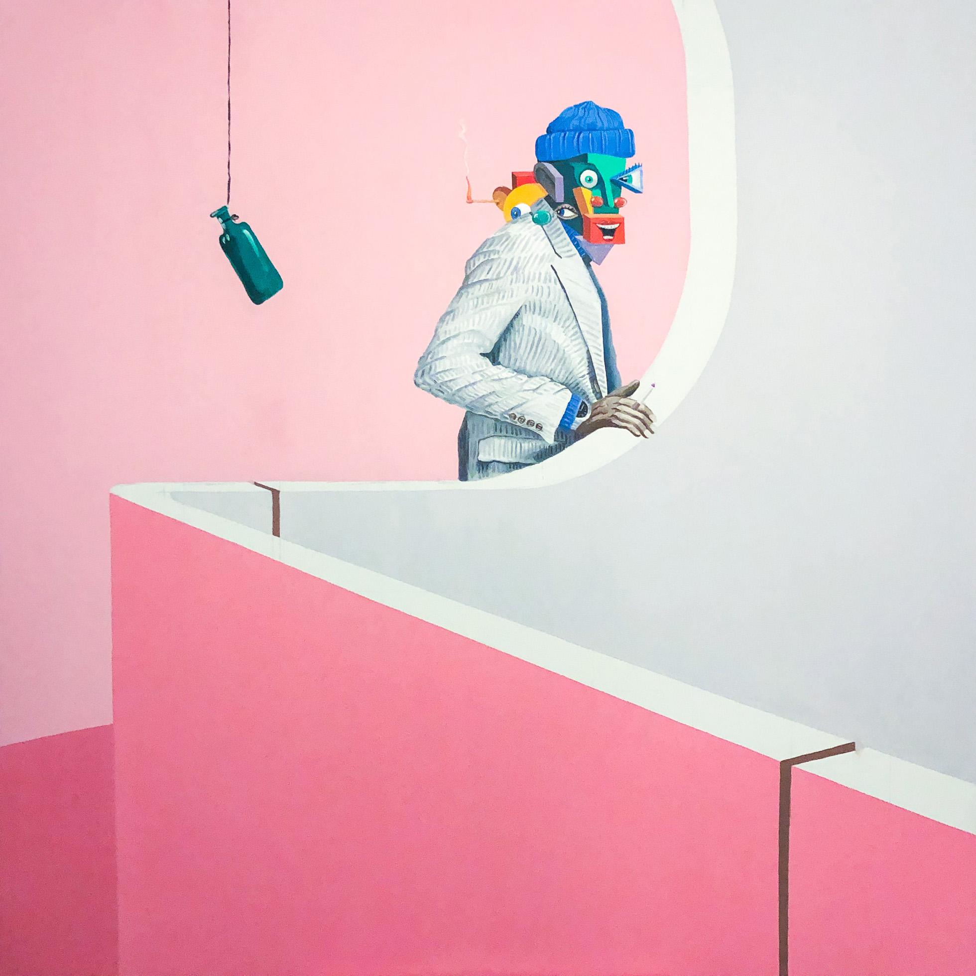 Mann im Treppenhaus